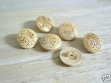 "Natural Molded Wood Look Scrolled Engraved Buttons (6) NEW 5/8"" Blouse/ Dress"