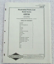 Briggs & Stratton Engines Illustrated Parts List Model Series 42B700 USA Manual