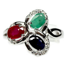 Sapphire Emerald & Ruby Ring size  8