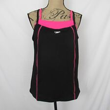 Speedo Endurance Tankini Top Layered Look Black Neon Pink size 12 New $54