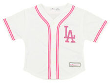 MLB Girls Kids Youth Los Angeles Dodgers Pink Glitter White Replica Jersey