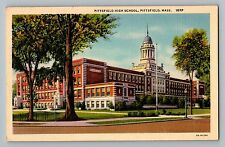 Pittsfield Massachusetts Ma High School Building View Curt Teich Postcard 1933