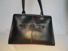 Benetton Handbag - black leather with pink trim and cerise lining