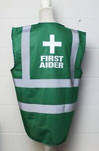 Green FIRST AIDER High Vis Vest / Waistcoat Site & Workplace Safety. SIZE: Large