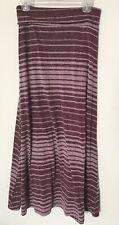 Mossimo Women's Size Medium Striped Burgundy Maxi Long Skirt Stretch Fold Over