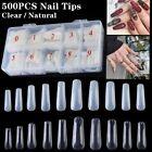 500Pcs Long Ballerina False Nail Tips Full Cover Coffin Fake Nails Acrylic Clear