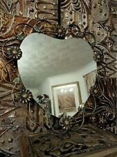 Vintage Gold Metal heart Wall Mirror 1950s 1960s