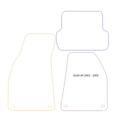 AUDI A4 & S4 2002-2005 BLACK TAILORED CAR MATS WITH SILVER EDGE + 4 ROUND CLIPS
