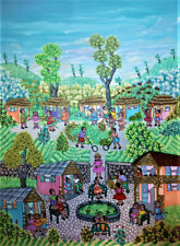 "ORIGINAL FOLK ART HAITIAN PAINTING FAMOUS FRANCOISE JEAN ""CHILDREN VILLAGE"" 4030"