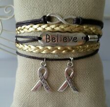 Leather Bracelet Gold Silver Infinity Cancer Awareness Charm Jewelry