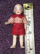 """3"""" German All Bisque Doll House BOY All Original, Jointed Limbs, Sweet #SB"""