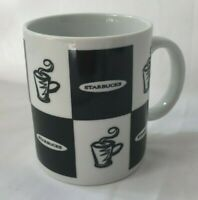 Vintage Starbucks 1995 Black White Block Checkered Mug Coffee Cup Jackal Design