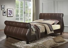 Marseille 5FT 150cm King Size Sleigh Bed Upholstered in Brown Faux Leather