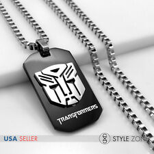 MEN Stainless Steel Transformers Autobots Black Dog Tag Pendant Box Necklace 13D