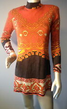Leonard Paris 2 vtg knit tunic mini dress orange brown mod fashion bingo holes