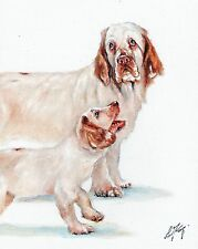 Original Oil Art Portrait Painting Clumber Spaniel Signed Artwork Puppy Dog