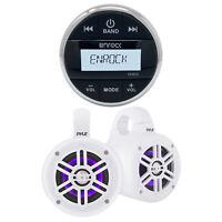 Enrock Bluetooth Marine Media Receiver, Wakeboard LED Tower Speakers White