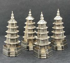 More details for fine quality chinese export silver pagoda pepper pots early 20th century