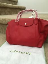 NWT Longchamp Pliage Cuir Small Cherry Red Leather Handbag L1512737045