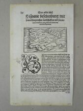 Hispania Spanien Altkarte Vogelschau Cosmographia Seb. Münster Holzschnitt 1544