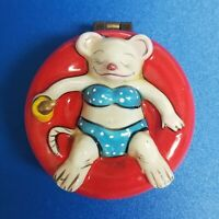 Vintage Girl Teddy Bear in Bikini Ceramic Porcelain Pill Trinket Jewelry Box