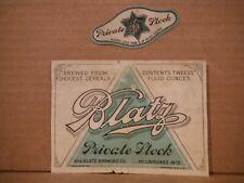 Blatz Private Stock Pre Pro 12 Oz Beer Label-Val. Blatz Brg,Milwaukee,Wis 288-16
