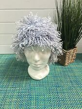 1960's Turban Hat Cap Wig with Blue Looped Raffia ~ HALLOWEEN OUTFIT!