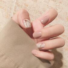 24 x Khaki Sfumato Obvious white Full Cover Short French Fake False Nails Tip