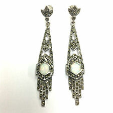 EXQUISITE ART DECO WHITE OPAL MARCASITE ARTICULATED EARRINGS 925 STERLING SILVER