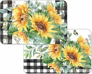4 Reversible CounterArt Sunflower Fields Plastic Mat Placemats Black Yelllow