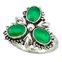925 Sterling Silver Natural Colombian Emerald Oval Ring Special Gift Sale