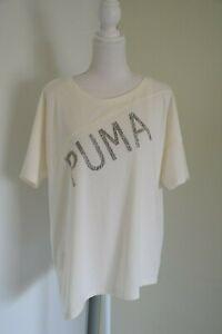 PUMA Cream Colour V back T shirt Size M asymmetrical