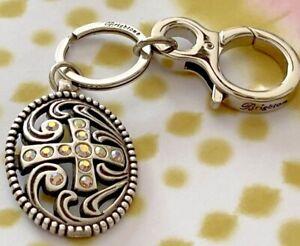 Brighton Cross Crystals Religious Custom Silver Key Chain Key Fob Zipper Pull