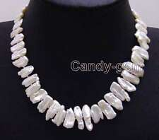 SALE Big 12-15mm White Natural freshwater Biwa Pearl 17'' Necklace-nec6142