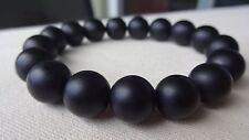 "Matte Black Onyx Bead Bracelet for Men (On Stretch Quad enforced) 12mm AAA - 8"""