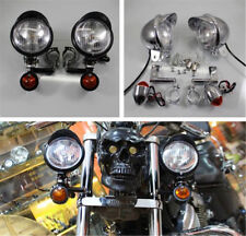 Chrome Motorcycle Front Fork Driving Spot Fog Lamp Turn Signal Light