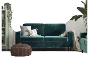 SLEEK GREEN VELVET SOFA for Living Room