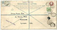Sobre de carta certificada George V 3D + 1/2D usado Overton 1913 RP27K Gato £ 150