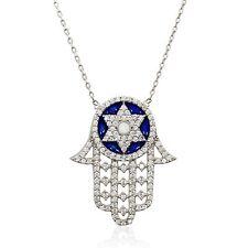 Star of David Charm Evil Eye Bead Pendant Hamsa Jewish Kabbalah Silver Necklace