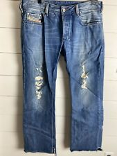 DIESEL INDUSTRY ZATINY Men's Blue Button  REGULAR BOOTCUT JEANS 34 x 32 Distress