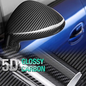 "4""x60"" 5D Ultra Shiny Glossy Carbon Black Fiber Decal Sticker for DAIHATSU Car"