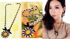 N296 BETSEY JOHNSON Multi Layers Sunflower Flower Summer Beach Style Necklace US