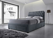 NEW 5ft Kingsize Grey Fabric Four Drawer Storage Bed Mattress options