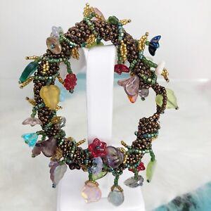 Artisan Crochet Beaded Cha Cha Fringe Leaves Flowers Charms Bracelet Bronze