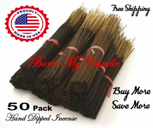 HEAVILY SCENTED INCENSE STICKS HAND DIPPED  ~ Bulk Wholesale ~ 50 Bundle