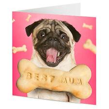 Pug Con Hueso De Perro mensaje Mejor Mamá Cumpleaños o el día de madre Tarjeta
