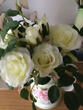 FAUX ARTIFICIAL SMALL WHITE ROSE FLOWER BOUQUET, Floral Display, Home Decor