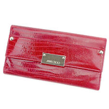 Jimmy Choo Wallet Purse Long Wallet Red Gold Woman Authentic Used T1582