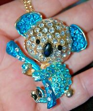 Blue Rhinestone Koala Bear Brooch Necklace Pendent Pin Golden Animal Totem