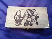 Wooden Pyrography Oblong Box Elephant dog can be personalised